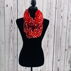 Infinity Scarf Stars Red Fringed